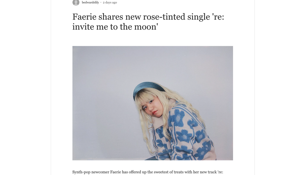 One Great Song | Faerie shares new rose-tinted single 're: invite me to the moon'