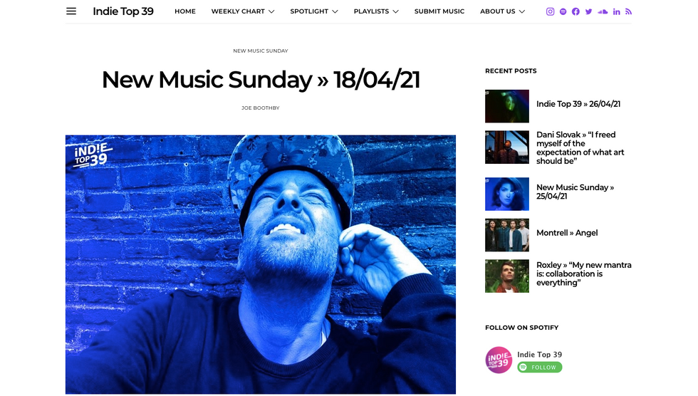 Indie Top 39 | New Music Sunday » 18/04/21