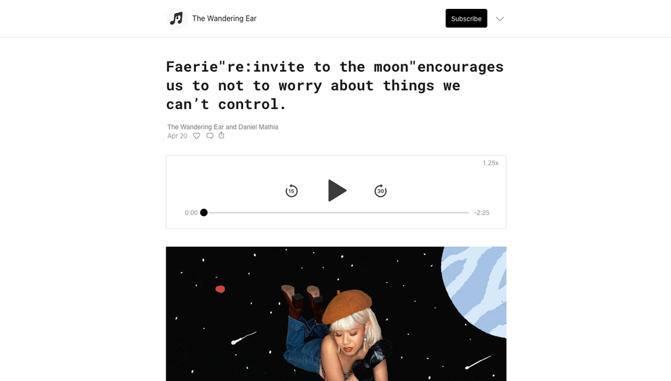 "The Wandering Ear | Faerie""re:invite to the moon""encourages us to not to worry about things we can't control."