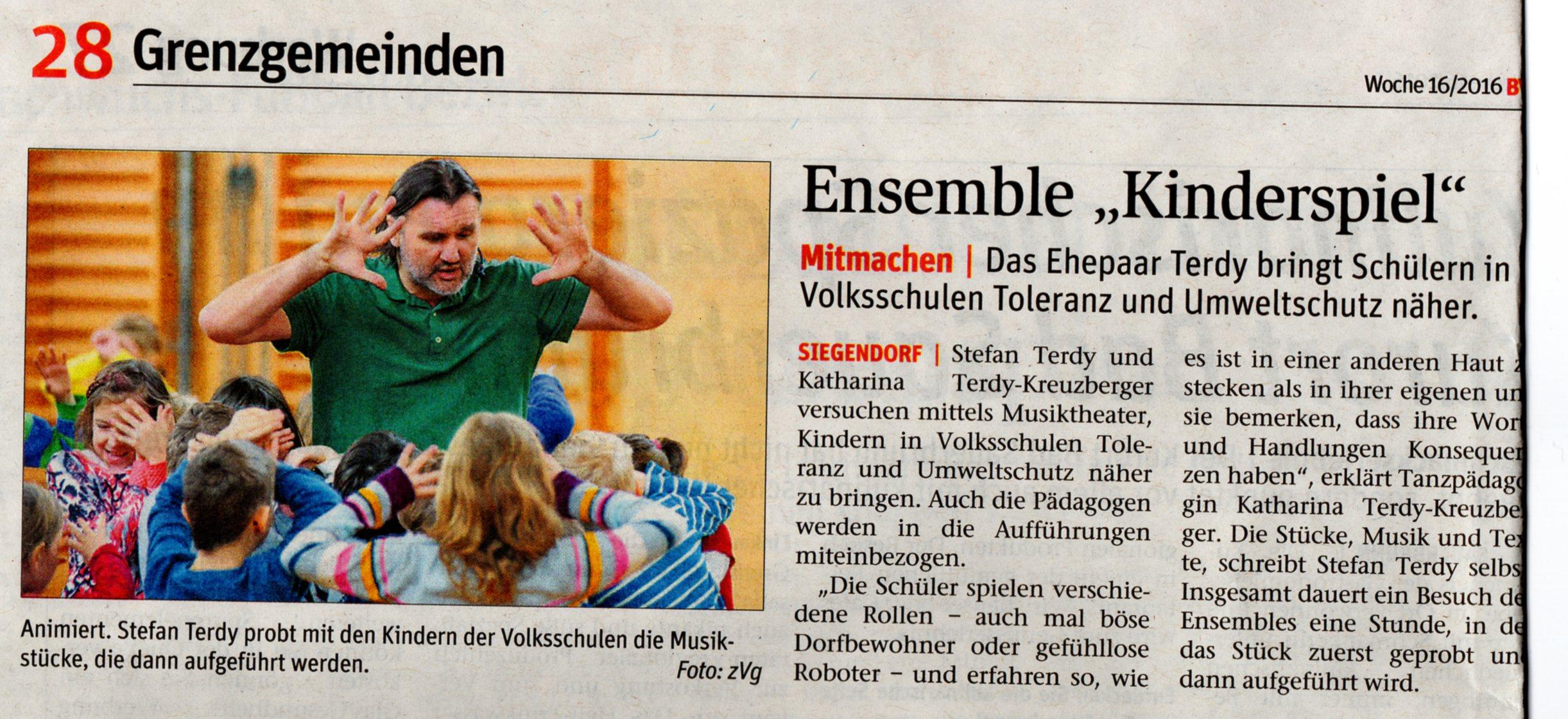 BVZ 16/2016 Artikel KINDERSPIEL