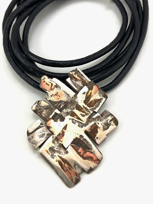 Mixed Married Metal pendant on leather
