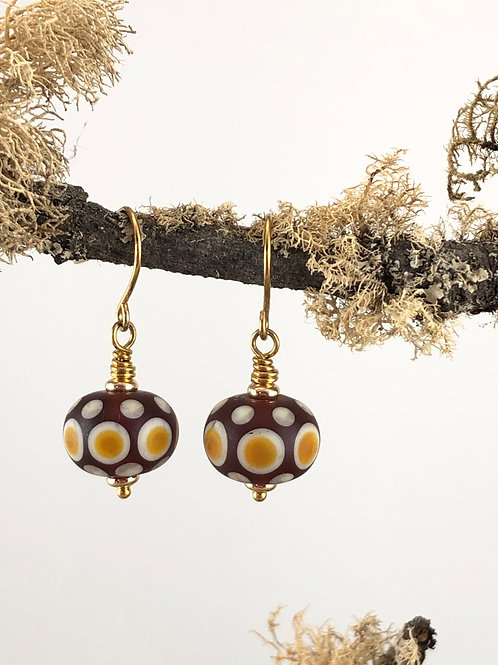 Frosted Dark Topaz based Earrings with Light Topaz dots on Ivory dots