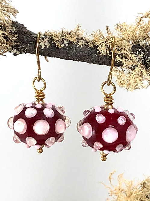 Pink Bubbles on red earrings_gold