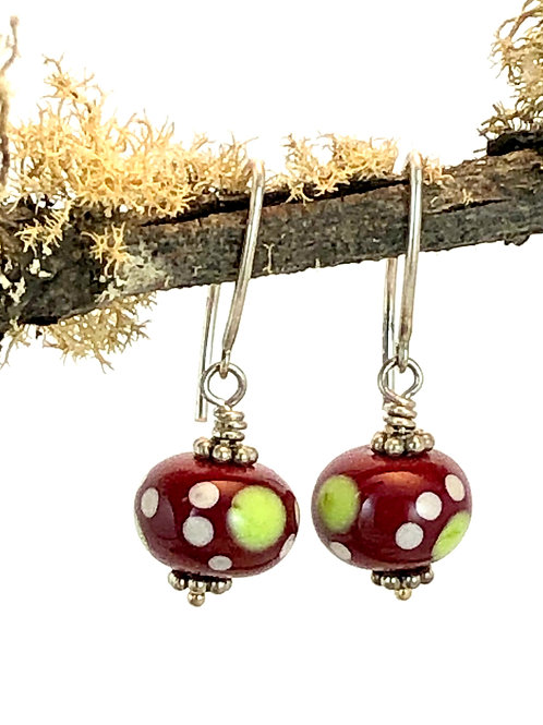 Pea Green  and White on Medium Red earrings