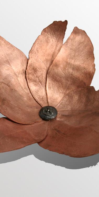 Copper leaves bowl