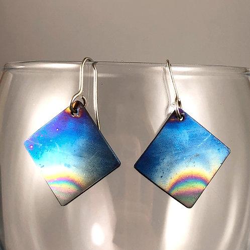 square titanium earrings