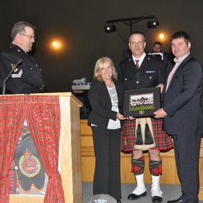 Presentation to our honorary Drum Major, Kieran Kelly and his wife Ruth