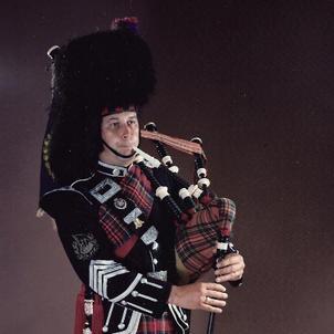 Pipe Major David Scott taken in the Ident Studio, July, 1981