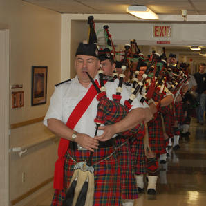 2008 the Pipes and Drums entertaining seniors