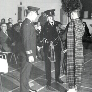 Presentation of PPCLI Badge by Lt. Col. Hewson in 1972