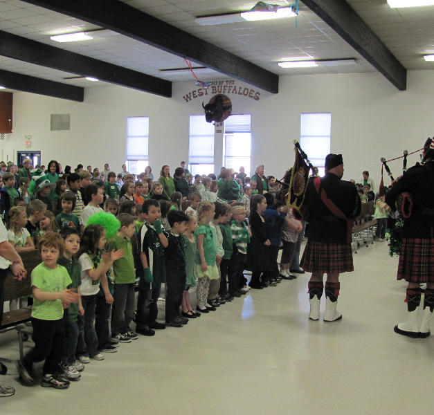 Playing for students at West Elementary School in Butte