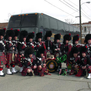 Band in front of Conley & McKinley Bus after St. Patrick's Day parade in 2003