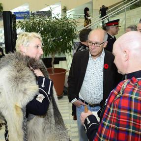 Edmonton Mayor Stephen Mandel chatting with band members