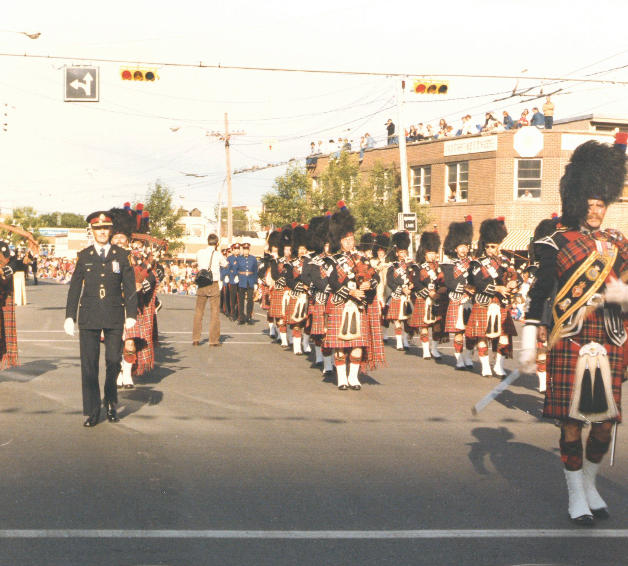 K Days Parade with Chief Lunney in 1982 and Calgary Police Pipe Band