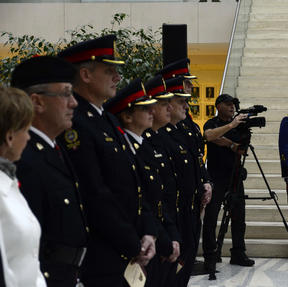 Edmonton PS Senior Officers and soloist, Cst. Jason Crotty, singing 'O Canada'