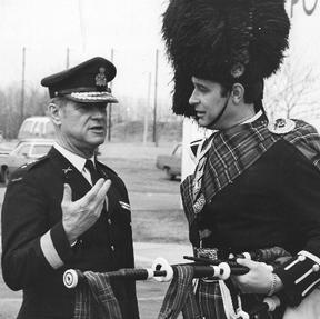 Pipe/Major David Scott with General John DeChastilane during the Airborne Regimental Trooping of the colors, September 1977
