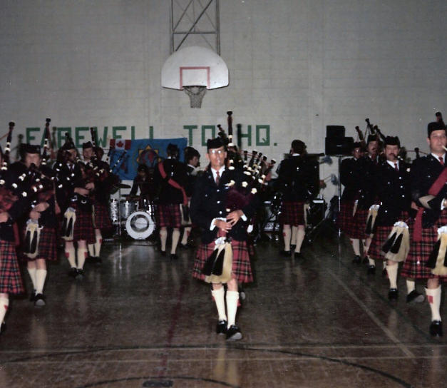The Band on Parade at the Farewell to Headquarters party, held in the gymnasium, May 1982.