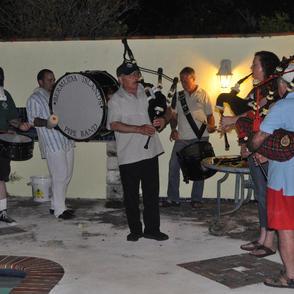Bermuda Island Pipe Band members entertain