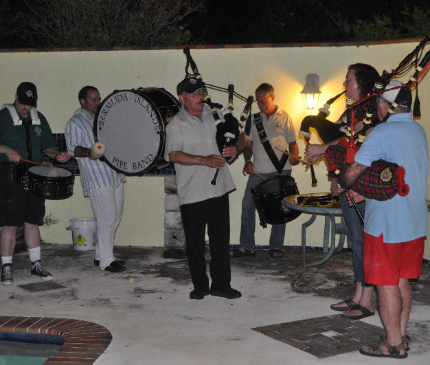 Bermuda Island Pipe Band members entertain