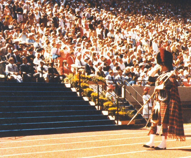 DM Bawn saluting HRH at Commonwealth Games in Edmonton in 1978