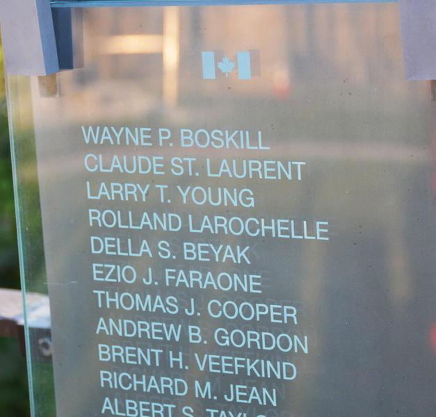 Edmonton PS Cst. Ezio Faraone's name on the Honor Roll