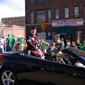 Injured drummer James MacLeod made it to the parade