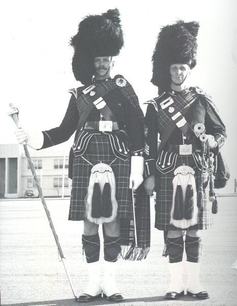 Drum Major Bawn and Pipe Major Izatt in Sept. 67