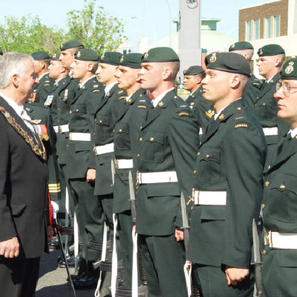 Mayor Bill Smith inspecting the troops at the 90th Anniversary of PPCLI parade in Edmonton July 2004