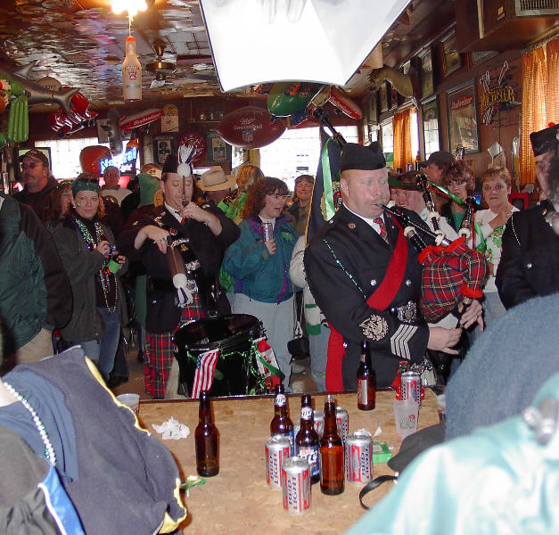 Pipe Major McKee with Side Drummer at Sam's Place
