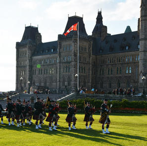 Playing at Parliament Hill before Sunset Ceremony