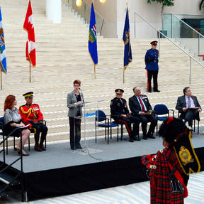 Chair of Edmonton Police Commission Arlene Yakeley addresses the crowd