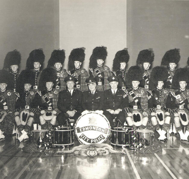 Chief M.F.E. Anthony with Band before K Days Parade in photo from 1964
