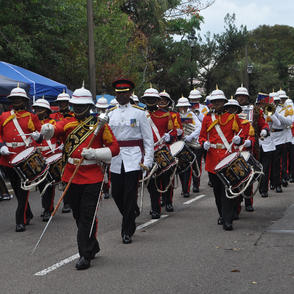 The Bermuda Regiment Band leads the parade