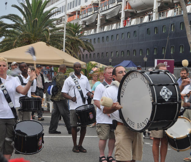 Playing with the Bermuda Islands Pipe Band on Front Street