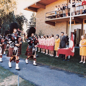The Band at a major golf event at the Edmonton Country Club in August 1973. Lt.Governor Ralph Steinhauer in black suit on right.