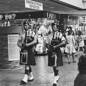 "Pipers David Scott and Murdock ""Doc"" Jardine, Police Expo at Southgate Shopping Center, May 1972."