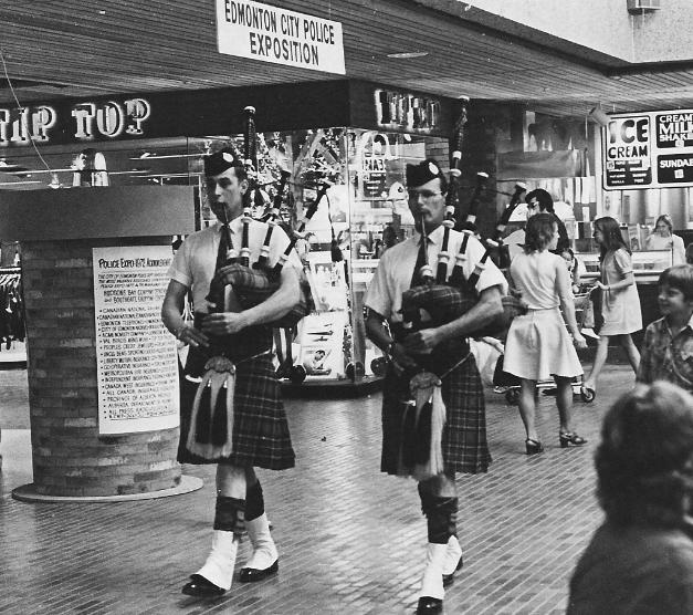 """Pipers David Scott and Murdock """"Doc"""" Jardine, Police Expo at Southgate Shopping Center, May 1972."""