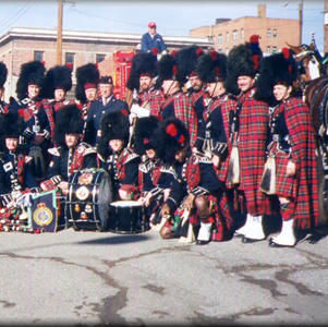 Band posing after parade in 2003