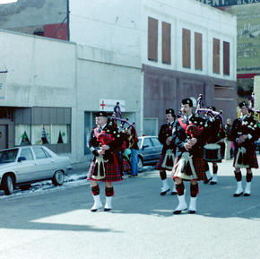 1984 St. Patrick's Day Parade, left to right - McKee, Quail, MacEachern, Jardine and drummers Morrissey & PJ Bawn