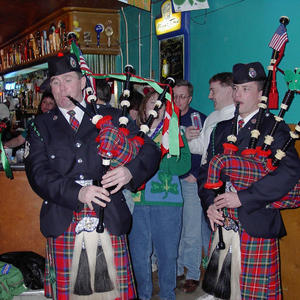 Pipers playing in Club 13 in 2003