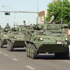 Tanks rolling through the streets of Edmonton July 2004