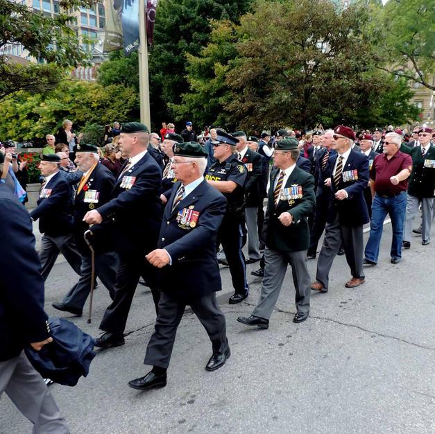 Members of the Old Guard at the Parade of Re-dedication at War Memorial