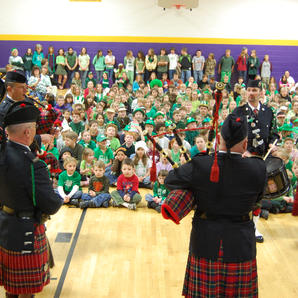 Playing for the students at Emerson School