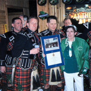 Band members with Molly Kirk from the Butte Celebrations committee