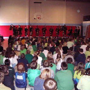 Playing for students at Margaret Leary Elementary School in 2006