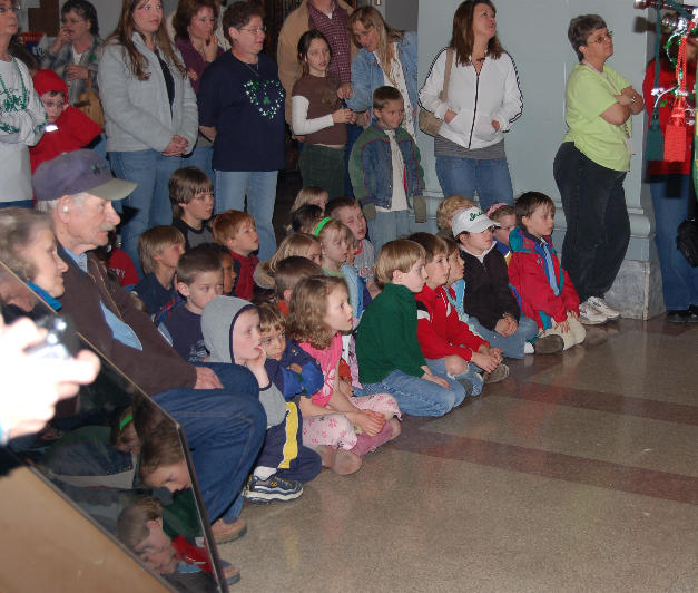 Fans watching the performance at the Butte - Silverbow Courthouse
