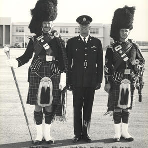 DM Bawn, Insp. Rodger and PM John Izatt at 1967 PPCLI Trooping of Colors