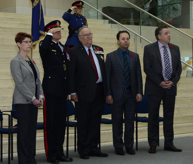 Chair of Edmonton Police Commission Arlene Yakeley, Edmonton Police Chief Rod Knecht, Honourable Donald S. Ethell, Lieutenant Governor of Alberta, Honorable Jonathan Denis Minister of Justice and Solicitor General, and City Councillor Dave Loken