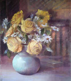 Roses au pot bleu