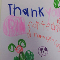 A thank you card from young student in a drama class